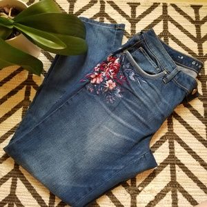 WHBM EMBROIDERED GIRLFRIEND JEANS SKINNY LEG